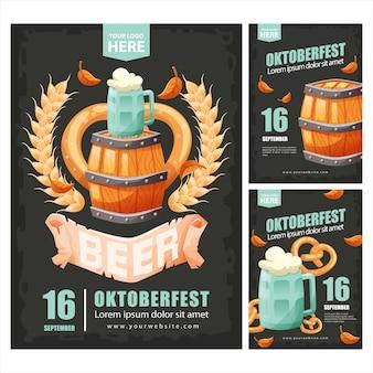 Poster oktoberfest con cassa di birra in legno