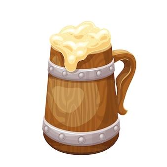 Boccale di birra in legno con birra, bevanda alcolica tradizionale del festival della birra oktoberfest. illustrazione vettoriale.