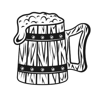 Boccale di birra in legno con schiuma vettoriale monocromatico illustrazione vintage isolato su sfondo bianco