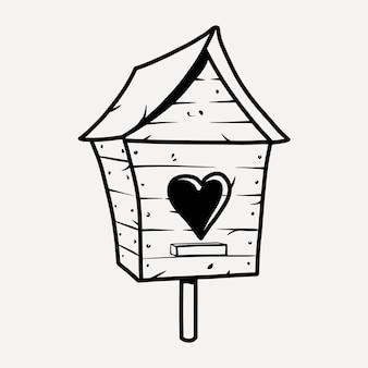 Birdhouse in legno con cuore per uccelli.
