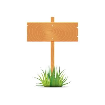 Il bordo in bianco di legno firma il tempo di molla con erba.