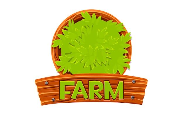 Tavola di legno e cespuglio con logo della fattoria per la progettazione grafica.