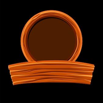 Tavola di legno e cornice rotonda per la progettazione grafica.