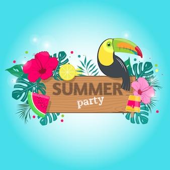 Tavola di legno con una scritta summer party su sfondo di foglie tropicali, tucano e frutta