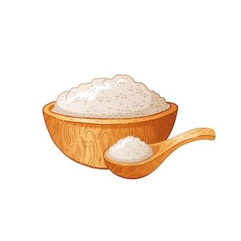 Cucchiaio di legno ciotola con cibo. scarabocchii l'illustrazione disegnata a mano, il disegno d'annata della prima colazione, fondo bianco isolato