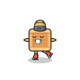 Cartone animato in scatola di legno come un giocatore di pattinaggio sul ghiaccio che si esibisce, design in stile carino per maglietta, adesivo, elemento logo