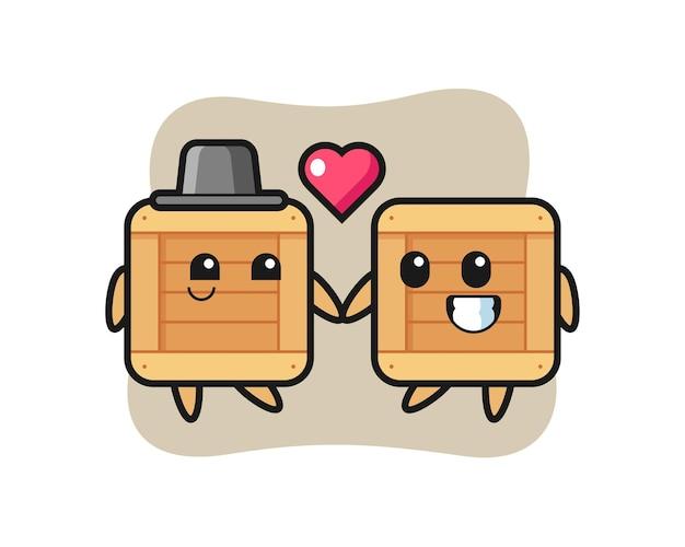Coppia di personaggi dei cartoni animati in scatola di legno con gesto di innamoramento, design in stile carino per maglietta, adesivo, elemento logo