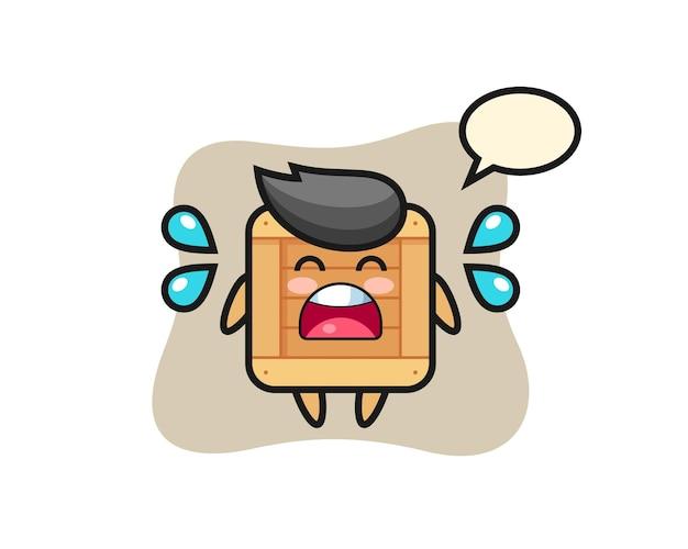 Illustrazione di cartone animato scatola di legno con gesto di pianto, design in stile carino per t-shirt, adesivo, elemento logo