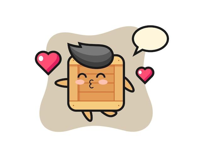Cartone animato personaggio scatola di legno con gesto di bacio, design in stile carino per t-shirt, adesivo, elemento logo