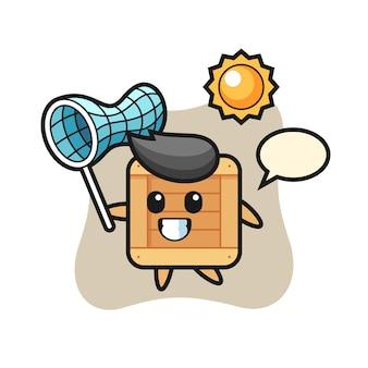 L'illustrazione della mascotte della scatola di legno sta catturando la farfalla, il design in stile carino per la maglietta, l'adesivo, l'elemento del logo Vettore Premium
