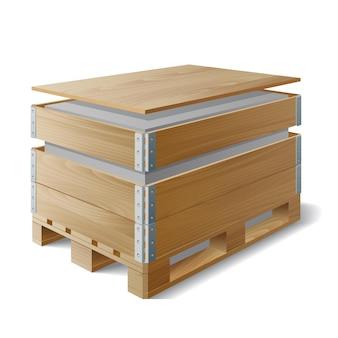 Scatola di legno con carico su un pallet. esempio di confezionamento del prodotto. il simbolo di consegna del trasporto. illustrazione vettoriale