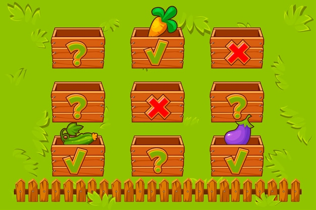 Scatole di legno su campo recintato con icone per il gioco.