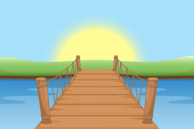 Ponte di legno con sole e acqua