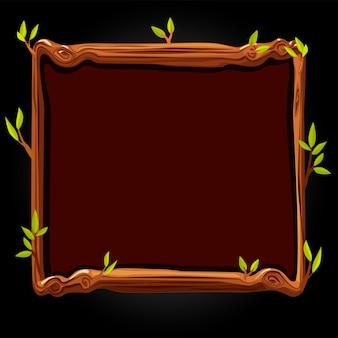 Tavola di legno marrone con foglie per l'illustrazione del gioco