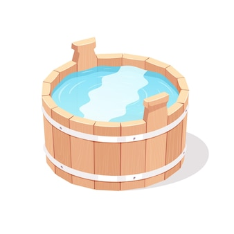Secchio di legno pieno d'acqua. illustrazione