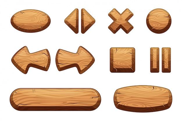 Bottoni in legno impostati per gioco ui