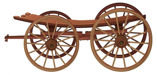 Un carrello di legno su sfondo bianco