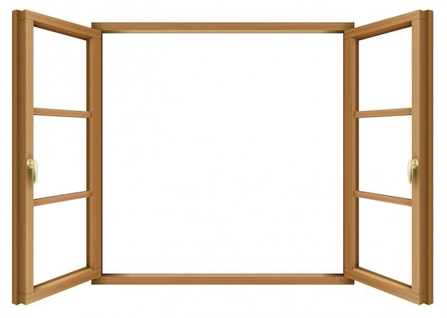 Finestra aperta vintage classica in legno Vettore Premium