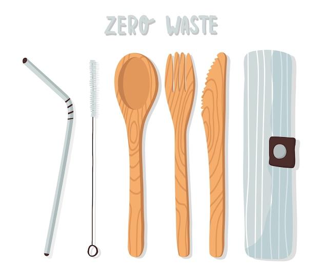 Set di posate in legno, stoviglie in bambù, cucchiaio, forchetta, coltello, cannuccia in metallo riutilizzabile e spazzola in un sacchetto di cotone. concetto di rifiuti zero.