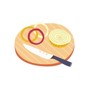 Affettatrice per cipolle con coltello in legno. preparazione degli ingredienti per la cottura. disegnato a mano vegetale vettoriale