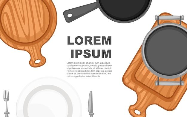 Tagliere in legno padella padella e concetto di piatto in ceramica bianca per il menu del ristorante