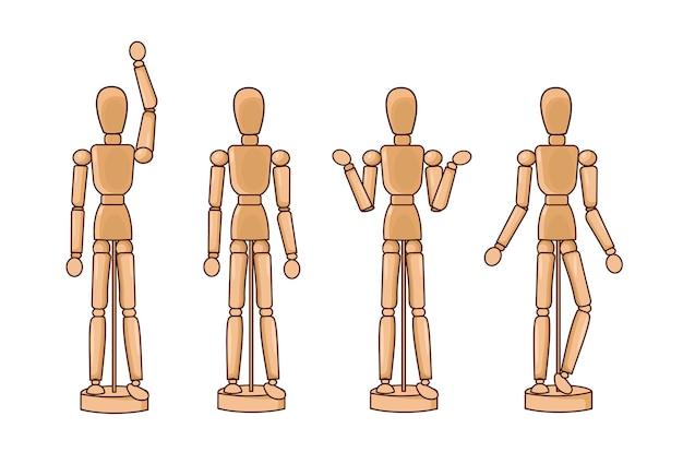 Una bambola di legno sui cardini. un mock-up di una figura umana in varie pose.