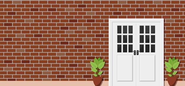 Porta di legno della vista frontale della casa con mattoni a vista,