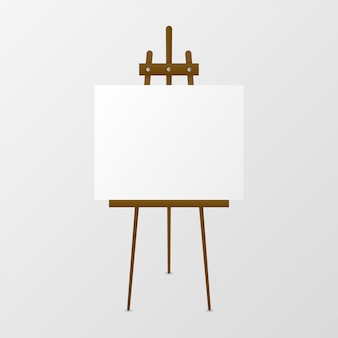 Cavalletto in legno con tela bianca.