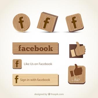 Facebook icone di legno Vettore Premium