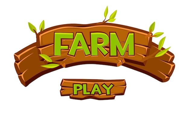 Cartello in legno della fattoria per il gioco dell'interfaccia utente. illustrazione del fumetto di scritte e foglie verdi.