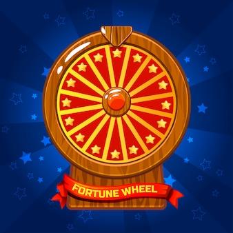 Illustrazione di legno della ruota della fortuna per l'elemento del gioco di ui