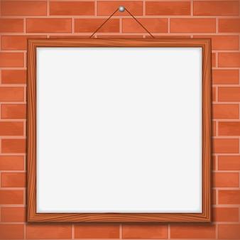 Cornice in legno sul concetto di muro di mattoni illustrazione