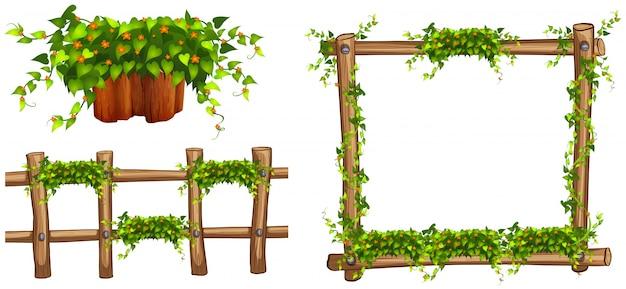 Cornice in legno e recinzione con piante