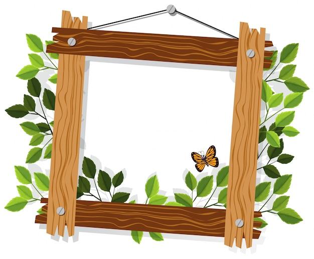 Cornice in legno con foglie e farfalle