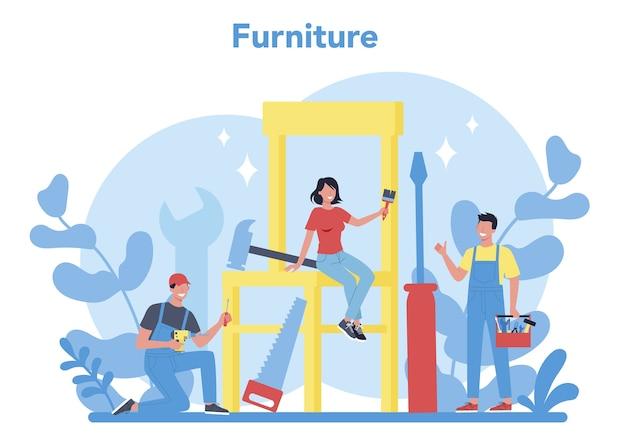 Concetto di mobili in legno. insegna di concetto di parola del negozio di mobili. interior design. costruzione di mobili per la casa. illustrazione piatta isolata