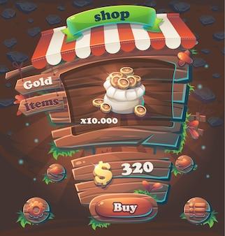 Illustrazione di vettore del negozio di finestra dell'interfaccia utente di gioco in legno