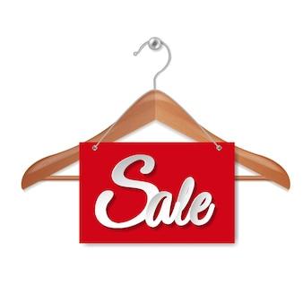 Appendiabiti in legno con banner di carta vendita isolato su sfondo bianco con maglia di gradiente, illustrazione vettoriale