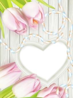 Cornice in legno a forma di cuore.