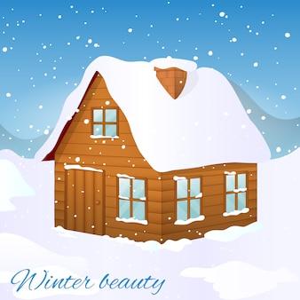 Casa in legno ricoperta di neve. merry christmas card o invito in stile cartoon.