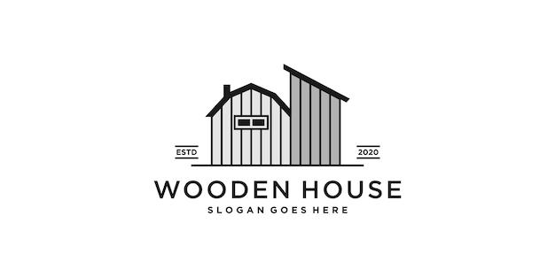 Logo della casa in legno per azienda o fattoria con un concetto di line art unico premium vecto