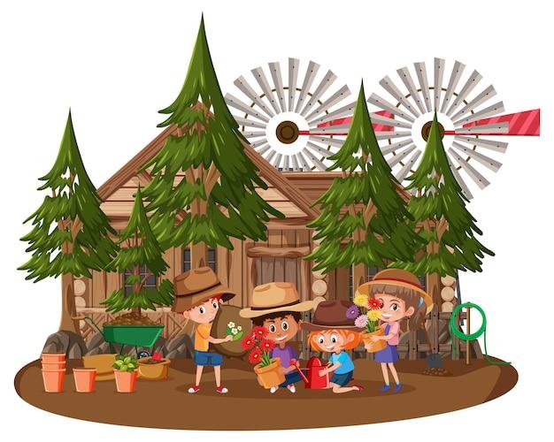 Casa in legno con molti bambini su sfondo bianco
