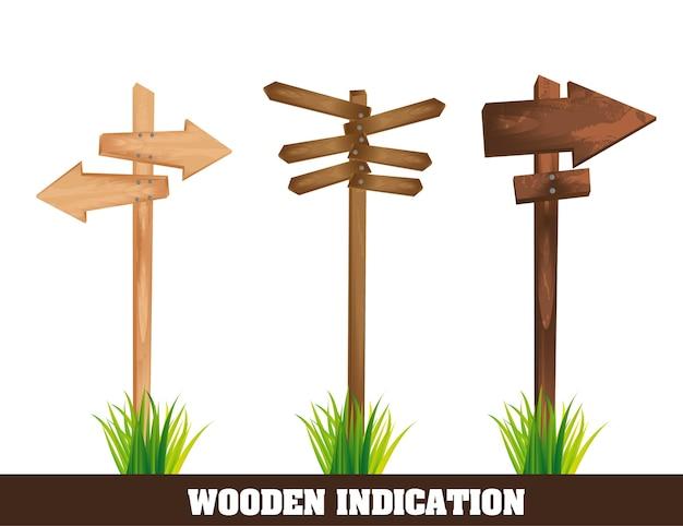 Indicazione di legno isolata sopra il vettore bianco