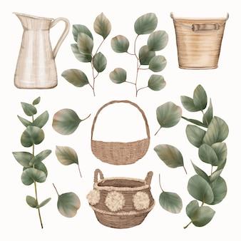 Oggetti in legno con foglie di eucalipto