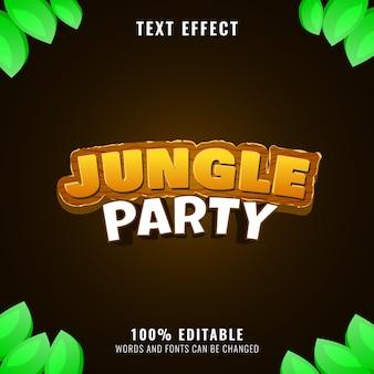 Effetto testo del titolo del logo del gioco fantasy party nella giungla in legno
