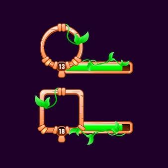Cornice di confine dell'interfaccia utente di gioco con foglie di legno con barra di livello e avanzamento