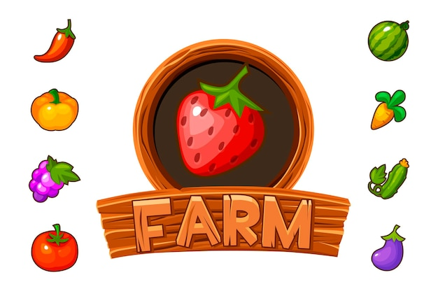 Fattoria con logo in legno con fragole per la gui del gioco. illustrazione vettoriale di banner con frutta e verdura per il gioco.