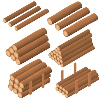 Tronchi di legno nell'isometrica. corteccia marrone di legno secco abbattuto. appalti per la costruzione. registri per accendere la fornace. illustrazione vettoriale.