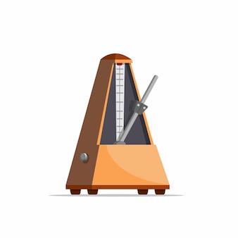Metronomo di legno, strumento dello strumento musicale nell'illustrazione realistica del fumetto isolata nel fondo bianco