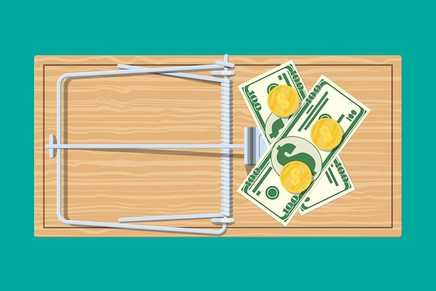 Trappola per topi in legno con banconote in dollari e monete d'oro, classica trappola a barra caricata a molla. Vettore Premium