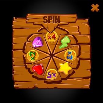 Vecchia ruota della fortuna in legno con icone bonus.